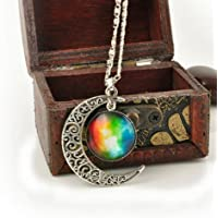 SILVER-TONE CRESCENT MOON NECKLACE FASHION Jewelry GALACTIC CABOCHON PENDANT EW (Rainbow)