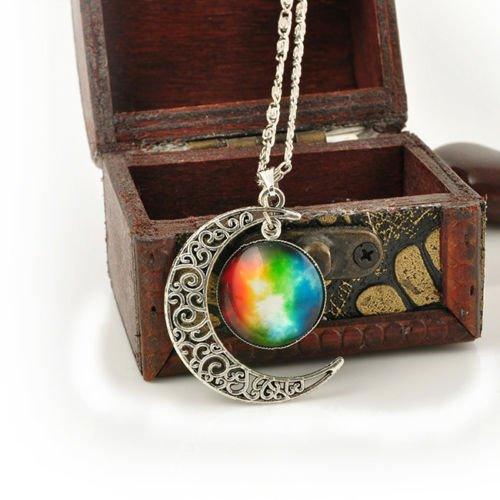 SILVER-TONE CRESCENT MOON NECKLACE FASHION Jewelry GALACTIC CABOCHON PENDANT EW ()