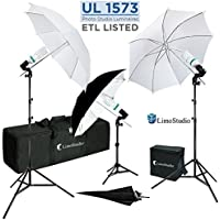 LimoStudio 840 Watt Photography / Video Portrait Umbrella Continuous Lighting Kit with Day Light CFL Bulbs, 33 Photo Umbrellas, Heavy Duty Light Stands, and Carrying Case For Product, Portrait, and Video Shoots, AGG288