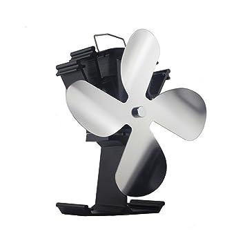 Ventilador de 4 hojas con calefacción para estufa de leña Estufa de leña con quemador de leña - Ventilador ecológico y eficiente (Níquel): Amazon.es: ...