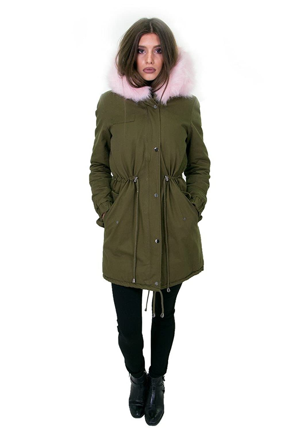 DSguided Damen Khaki Winter Parka XXL Fake Fur Kunstfell Warm