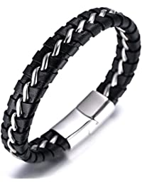 """SOLO"" Men's Genuine Leather Bracelet with Titanium Chain Silver/Golden/Gun Black 8.46""(21.5cm)"