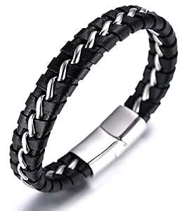 "Halukakah ""SOLO"" Men's Genuine Leather Bracelet with Titanium Chain Silver/Golden/Gun Black 8.46""(21.5cm)"