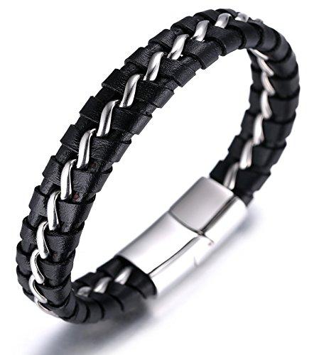 "Halukakah ● Solo ● Men's Genuine Leather Bracelet with Titanium Chain Silver 8.46""(21.5cm) from Halukakah"