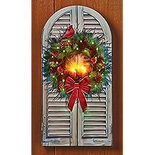 LED Fiber Optic Holiday Window Wreath Canvas