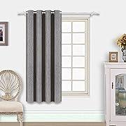 BEST DREAMCITY Grommet Blackout Faux Linen Curtain (Silver Grey, 52  W x 63  L, Single Panel)