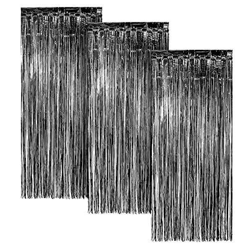 Black FOIL Fringe Curtain | Metallic Shimmering Tinsel Decoration | Great for Party Décor, Photo Backdrops and More | Easy Installation | 3' x 8' | 3 pc
