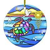 SheilaNelly Sea Turtle (#8 - with Dove) Christmas Ornament Ceramic Circle 3 inch