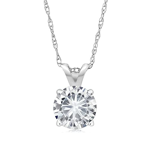 Charles & Colvard 6MM VG Moissanite 14k White Gold Solitaire Pendant Round 4 Prong With 18&a...