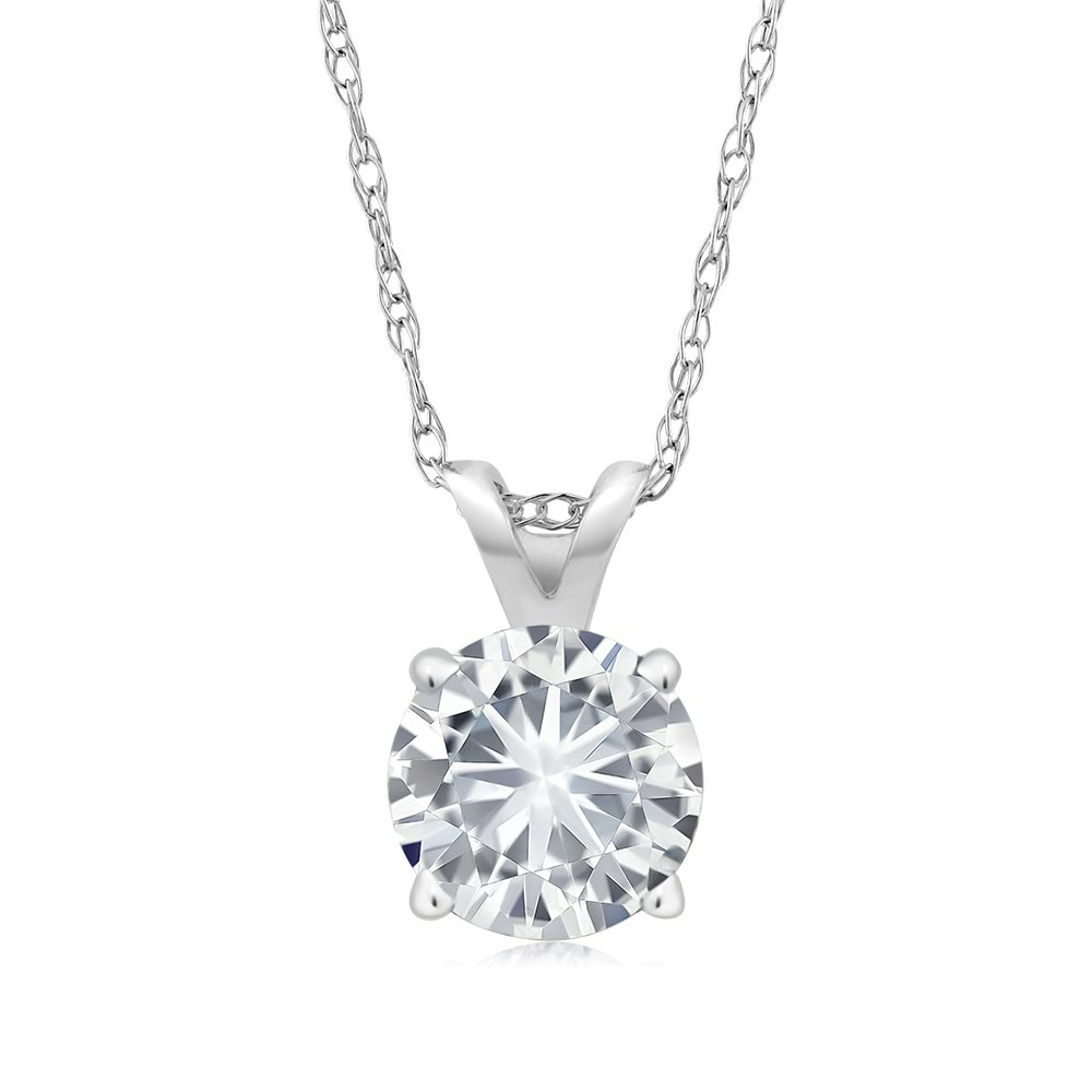 Charles & Colvard 5MM VG Moissanite 14k White Gold Solitaire Pendant Round 4 Prong With COMPLIMENTARY 18'' 14K White Gold Chain (0.50 ct Moissanite, White Color, SI2-100% Eye Clean)