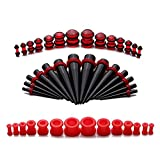 red 2g plugs - Taper Kit Black Stretching Gauges Set 8G-12mm Stretching Kit Silicone Plugs - 21 Pairs