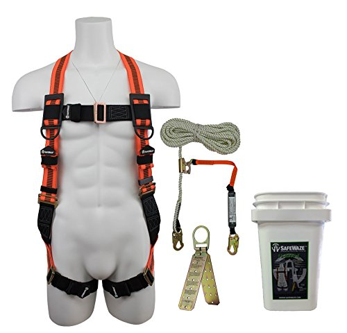 Roofing Kit - SafeWaze V-LINE Fall Protection Roofing Kit in a Bucket, Includes Safety Harness with Waist Belt, Rope with Rope Grab and Reusable Roof Anchor, OSHA/ANSI Compliant