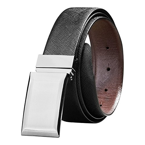 Savile Row Men's Reversible Leather Belt with Plaque Buckle - Gift box (Size 38) (Leather Plaque Buckle Belt)