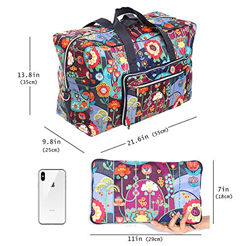 e84b05b2f1e4 Womens Foldable Travel Duffel Bag 50L Large Cute Floral Travel Bag  Weekender Overnight Carry On Bag Checked Luggage Tote Bag For Girls Kids
