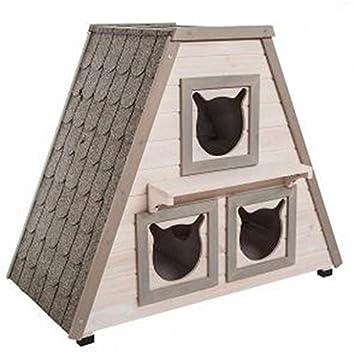 Madera de la perfecta para exterior Cat House W/3 Separado Dormir zonas. Esta Casa de madera gato es un impermeable Pet Shelter gato cama para el hogar y el ...
