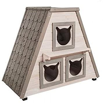 Madera de la perfecta para exterior Cat House W/3 Separado Dormir zonas. Esta