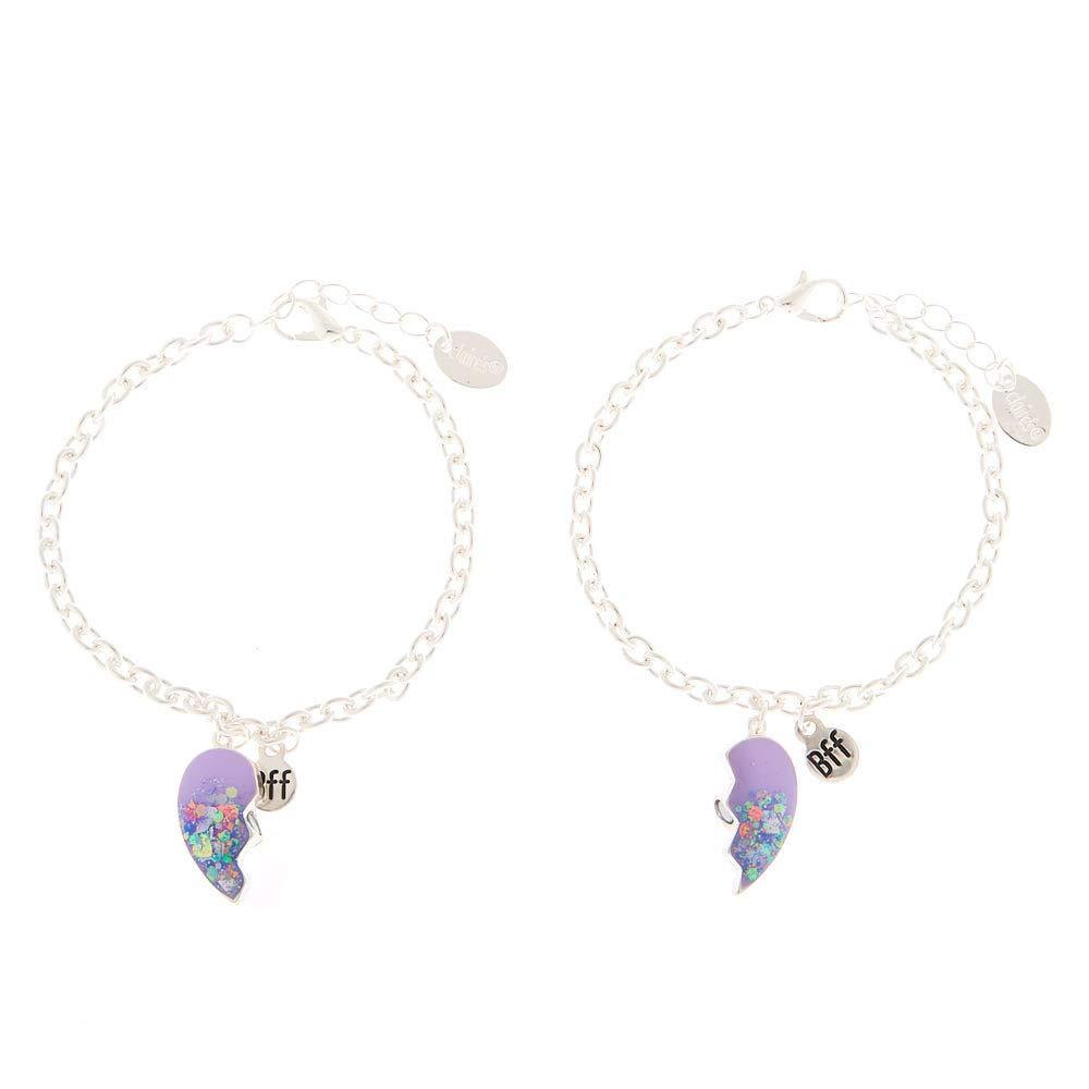 Femmes Lot de 2/bracelets best friends breloque c/œur violets Claires