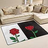 WellLee Area Rug,Red Rose On White Black Background Floor Rug Non-slip Doormat for Living Dining Dorm Room Bedroom Decor 60x39 Inch