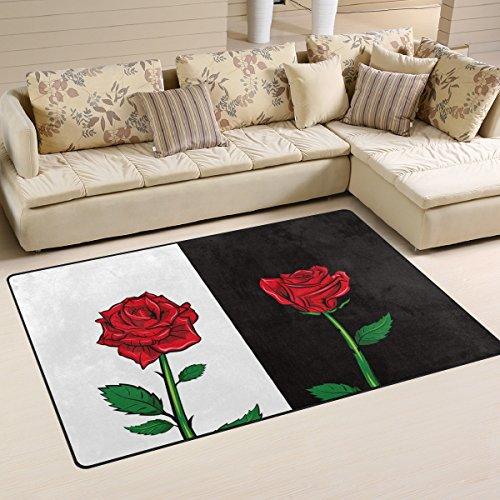 WellLee Area Rug,Red Rose On White Black Background Floor Rug Non-slip Doormat for Living Dining Dorm Room Bedroom Decor 60x39 Inch by WellLee