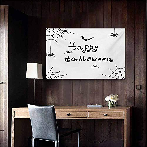duommhome Spider Web Simulation Oil Painting Happy Halloween Celebration Monochrome Hand Drawn Style Creepy Doodle Artwork Decorative Painted Sofa Background Wall 35