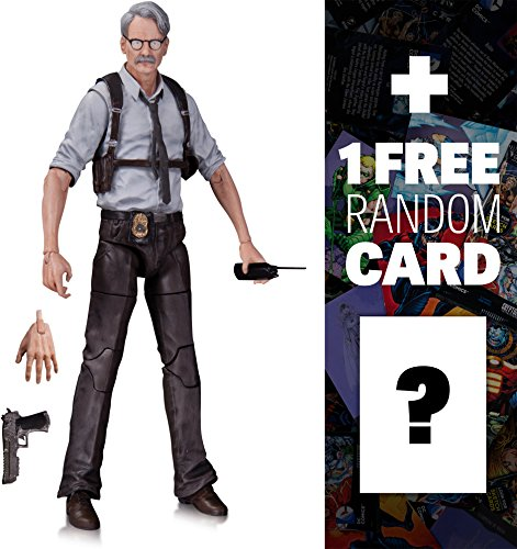 "Commissioner Gordon: ~6.75"" DC Collectibles Batman Arkham Knight Action Figure + 1 FREE Official DC Trading Card Bundle (328010)"