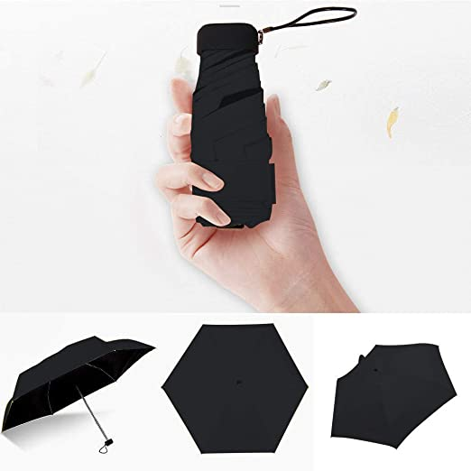Cliramer Mini Travel Umbrella Light Compact Sun&Rain Outdoor Comfortable Square Handle Pocket Umbrella (Black)