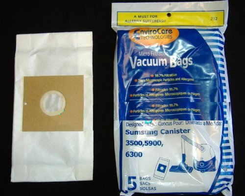 Samsung 3500, 5900, 6300 Canister Micro Filtration Vacuum Bags - 5 in a pack