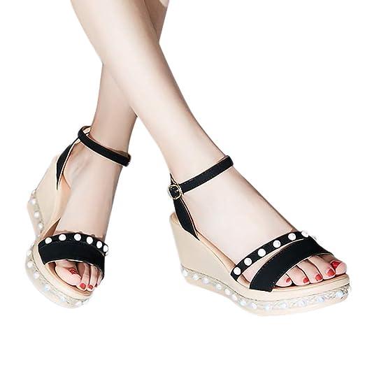 ee0fe4c464a2c Amazon.com: Duseedik Women's Sandals Wedges Summer Pearl Thick ...