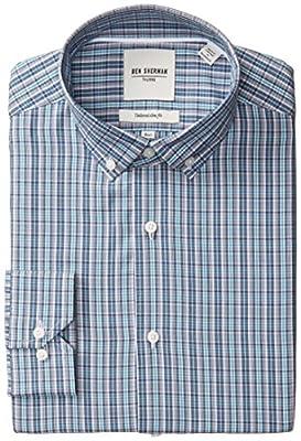 Ben Sherman Men's Slim Fit Plaid Button Down Collar Dress Shirt