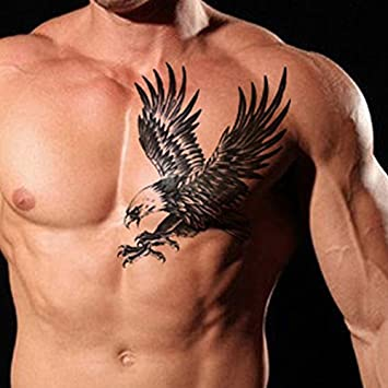 Amazon Com Tafly Men S Temorary Tattoos Black Large Eagle Wings