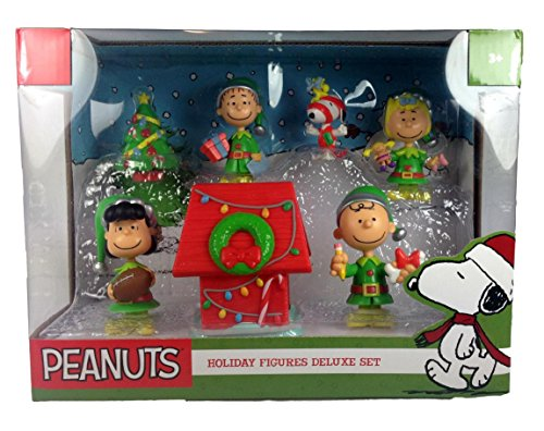 PEANUTS Holiday Figures Deluxe Set: Red Dog House, Lucy w/ Football, Christmas Tree, Gift Wrap Snoopy