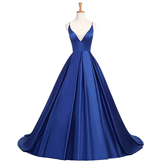 XIA Womens Sexy Deep V-Neck Backless Prom Dress Royalblue Satin Long Formal Evening Ball