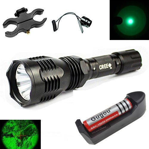 Gugou Waterproof 350 Lumens 18650 Battery Tactical Flashlight 250 Yard Long Range Throwing Green Hunting Light Green Cree LED Coyote Hog Hunting Light (green) by Gugou (Image #6)