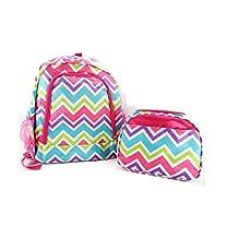 LA Chevron School Camp Work Travel 16 Inch Backpack Lunch Box Bag Set Jp