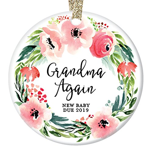 Grandma Again Christmas Ornament 2019, Pregnancy Reveal Announcement We're Expecting, 2nd Baby Grandmother Xmas Pink Floral Wreath Ceramic 3