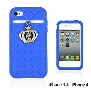 OnlineBestDigital - Crown Style Soft Silicone Case for Apple iPhone 4S / Apple iPhone 4 - Blue