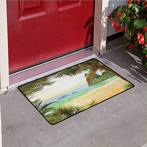 GloriaJohnson Ocean Front Door mat Carpet Palm Coconut Trees and Ocean Waves Mountains on Paradise Island Beach Image Machine Washable Door mat W31.5 x L47.2 Inch Green Brown Cream