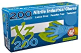 Ammex X3D Xtreme Blue Nitrile Glove, Latex Free, Disposable, Powder Free, Large (Box of 200)