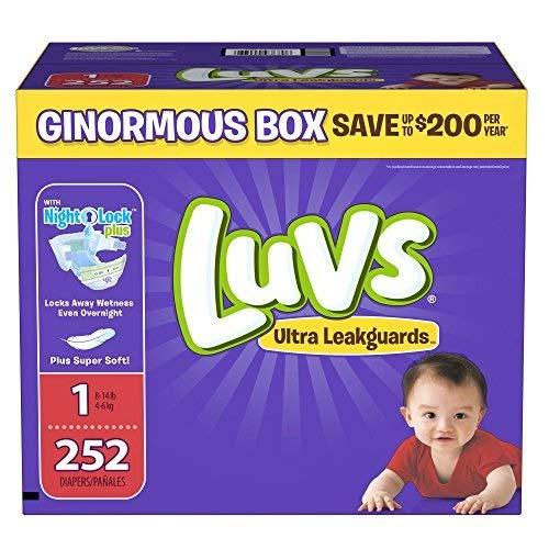 Branded Luvs Ultra Leakguards Newborn Diapers Size 1, 252 ct
