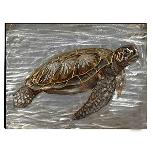 The Urban Port C224-124114 Antique Turtle Hand Painted Aluminum Wall Art Decor by Urban Port