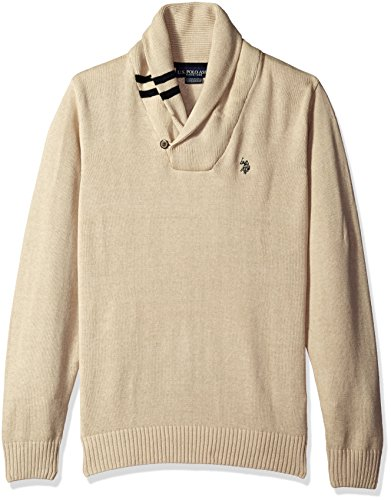U.S.+Polo+Assn.+Men%27s+Solid+Shawl+Pullover%2C+Oatmeal+Heather%2C+Medium
