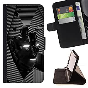 BullDog Case - FOR/Samsung Galaxy S5 Mini, SM-G800 / - / lines face modern black lines pattern /- Monedero de cuero de la PU Llevar cubierta de la caja con el ID Credit Card Slots Flip funda de cuer