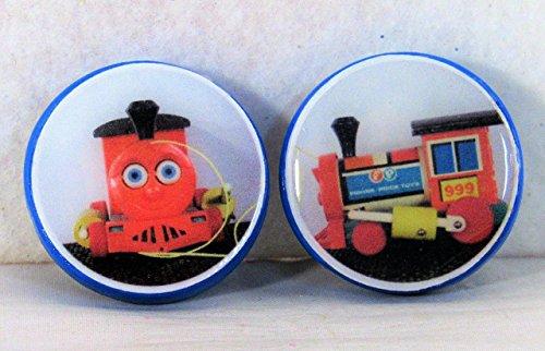 (1.25 inch Refrigerator Magnets Set Huffy Puffy Train Engine Original Photography Vintage Fisher Price Toy Kitschy Kitchen Photo Art Decor Round Ceramic Clay Blue Red)