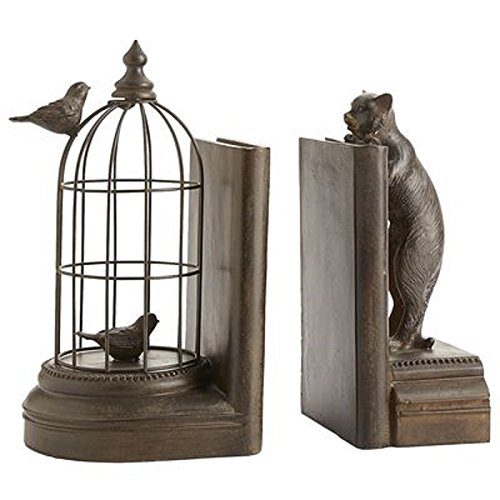Cat & Birdcage Brown Stone Bookend Set Books Office Decor Accents