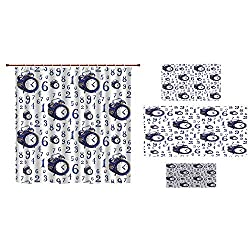 iPrint Bathroom 4 Piece Set Shower Curtain Floor mat Bath Towel 3D Print,Effect an Alarm Clock Illustration Caligraphic,Fashion Personality Customization adds Color to Your Bathroom.