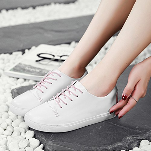 Leder Weiß Damenschuhe White Single Weiblich 38 Flach Student größe Damenschuhe Schuhe pink HWF Sport Plate Freizeitschuhe Farbe wqREcd5O