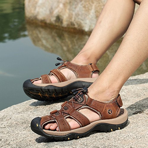 Lightweight Mens Outdoor Beach Hiking Sandals Sports Beeagle Brown Shoes Trekking Athletic Fisherman Leather RwdqUW0