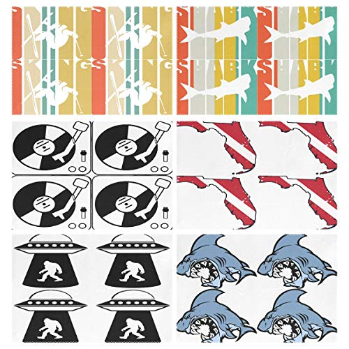 (Placemats Set of 6, Vintage Skiing Skier Silhouette Shark Turntable Music Vinyl Record Dj Florida Scuba Dive Flag Map Diving Diver UFO Bigfoot Cartoon Dining Table Mats for Home Kitchen Office)