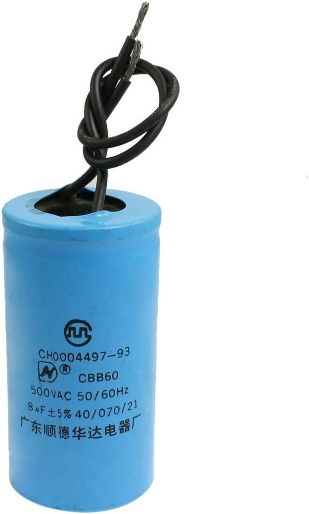Aexit Lavadora Lavadora AC 500V 8uF Polipropileno Película (model: Q8102XIII-9908RV) Capacitor Azul cielo