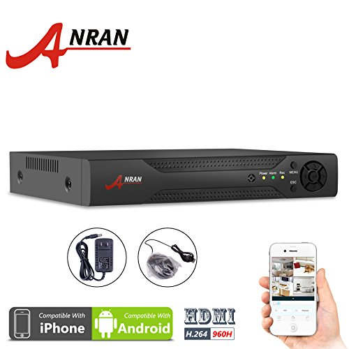 ANRAN 960H 8 Channels Full D1 DVR CCTV Network Motion Detection 8CH H.264 Digital Video Recorder For Surveillance Security Camera System Real Time Recording VGA/ HD Output Mobile Phone Monitoring